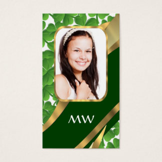 Green shamrock photo background business card