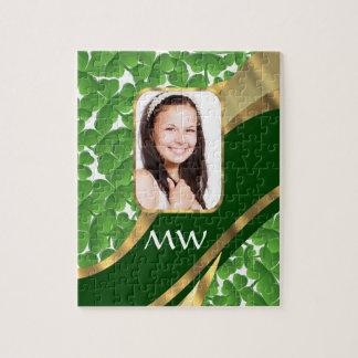Green shamrock photo background jigsaw puzzle