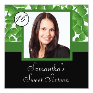 Green shamrock photo sweet sixteen card