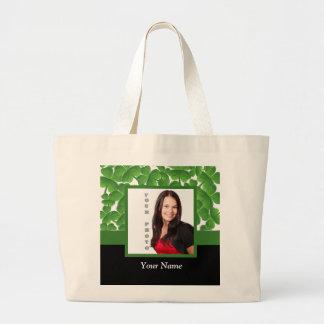 Green shamrock photo template canvas bags