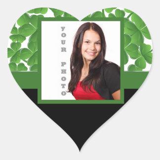 Green shamrock photo template heart sticker