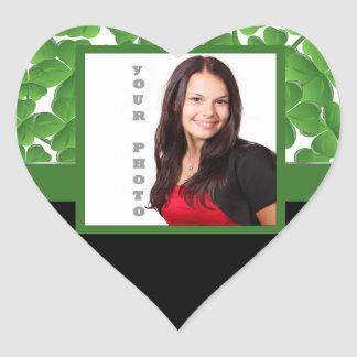 Green shamrock photo template heart stickers