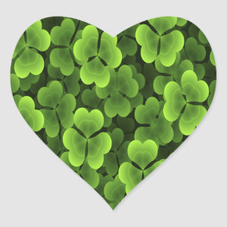 Green Shamrock Plant Pattern Heart Sticker