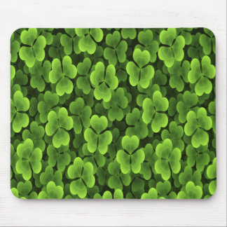 Green Shamrock Plant Pattern Mouse Mat