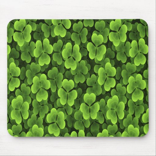 Green Shamrock Plant Pattern Mouse Pad