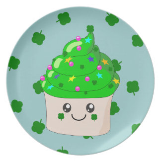 Green Shamrock St Patricks Day Cute Cupcake Plate