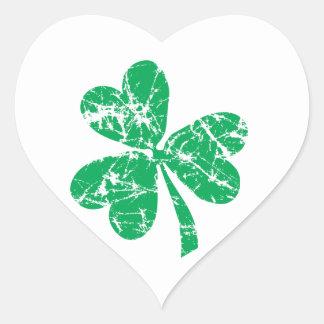 Green Shamrock St. Patrick's Day Heart Sticker