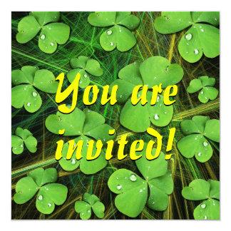 Green Shamrock St Patrick's Day Invitation