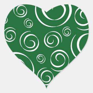 Green Shamrock Swirl Pattern PT 81 Heart Sticker