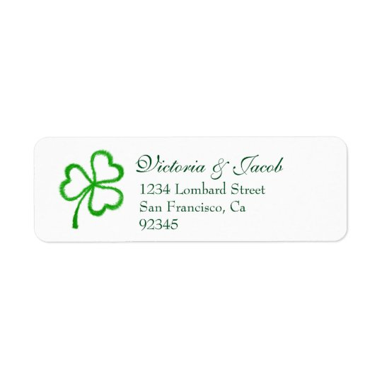 Green Shamrock Wedding Return Address Labels