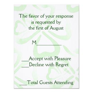 Green Shamrock Wedding RSVP Card 11 Cm X 14 Cm Invitation Card