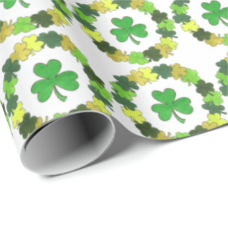 Green Shamrock Wreath St. Patrick's Day Wrap Wrapping Paper