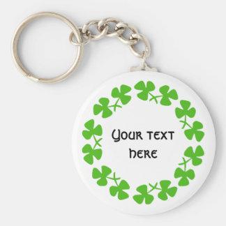 Green Shamrocks Border Add Text Basic Round Button Key Ring
