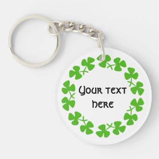 Green Shamrocks Border Add Text Double-Sided Round Acrylic Key Ring