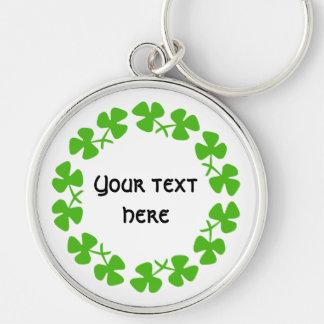 Green Shamrocks Border Add Text Silver-Colored Round Key Ring