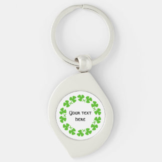 Green Shamrocks Border Add Text Silver-Colored Swirl Key Ring