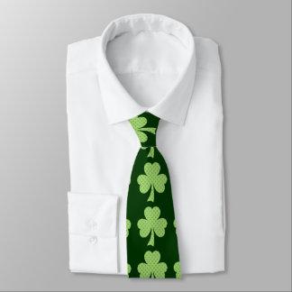 Green Shamrocks clovers polka dots pattern Tie