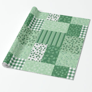 Green Shamrocks Faux Patchwork Wrapping Paper
