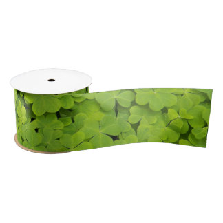 Green Shamrocks Floral Satin Ribbon