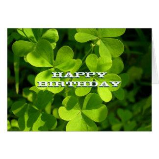Green Shamrocks Happy Birthday Custom Card