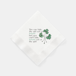 Green Shamrocks Irish Girl Quote Paper Napkins