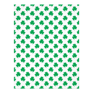 Green Shamrocks on White St.Patrick's Day Clover Personalized Flyer