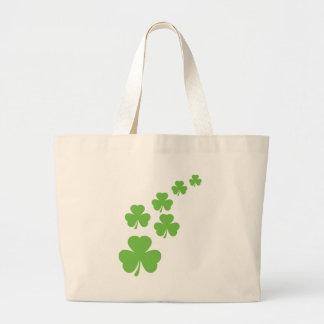 green shamrocks rain large tote bag