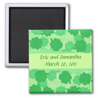Green Shamrocks Save the date wedding magnets