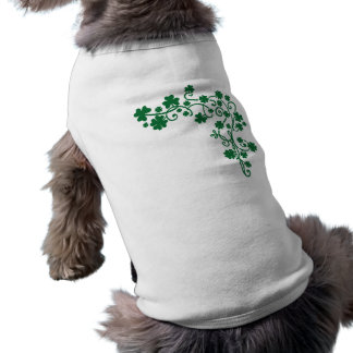 Green shamrocks sleeveless dog shirt