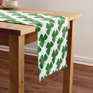 Green Shamrocks St. Patrick's Day Short Table Runner