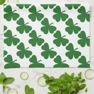 Green Shamrocks St. Patrick's Day Tea Towel