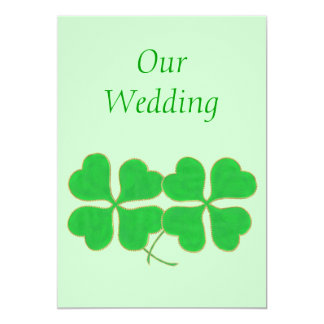 "Green Shamrocks with with gold dots Wedding Invite 5"" X 7"" Invitation Card"
