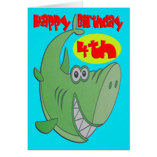Green Shark Fourth Birthday Greeting Card