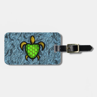 Green Shell Turtle Luggage Tag