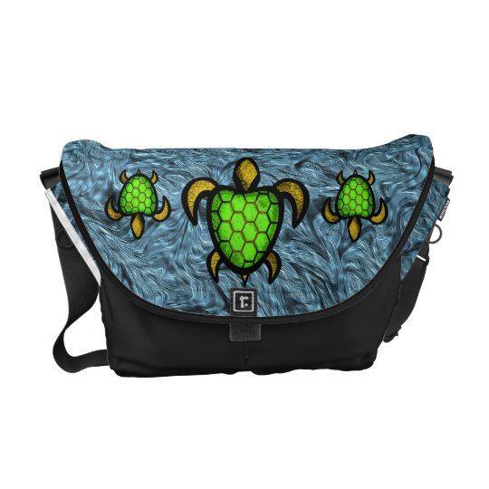 Green Shell Turtle Messenger Bag