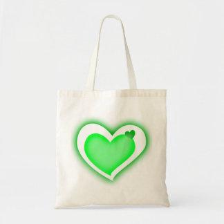green shiny hearts bags
