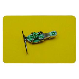 Green shoe earring macro rectangular photo magnet