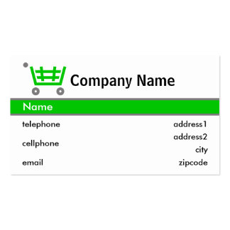 Green Shopping Trolley Card Design Pack Of Standard Business Cards