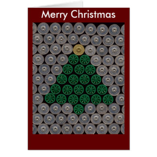 Green shotgun shell tree Christmas Card