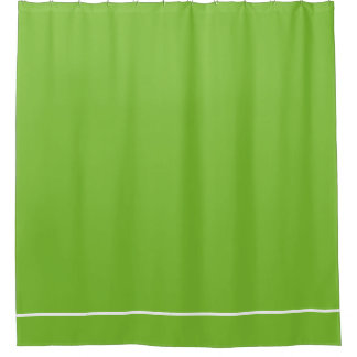 Green shower curtain with white one line border