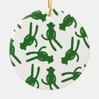 Green Silhouette Sock Monkey Christmas Ornament