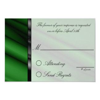 Green Silk Reply Card 9 Cm X 13 Cm Invitation Card