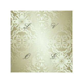 green,silk,silver,damask,floral,pattern,chic,shini gallery wrap canvas
