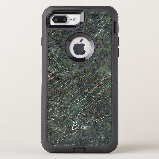 Green & Silver Army Camo Sparkle Elegant Glam OtterBox Defender iPhone 8 Plus/7 Plus Case