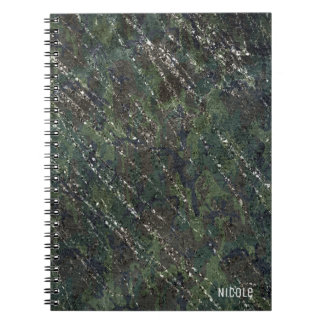 Green & Silver Army Camo Sparkle Elegant Glam Spiral Notebook