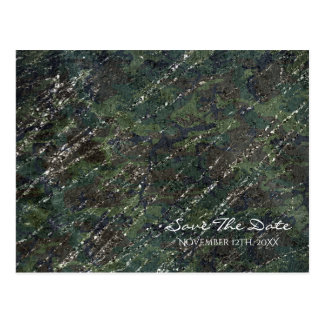Green & Silver Army Camo Sparkle Save the Date Postcard