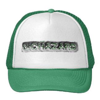Green & silver biohazard toxic warning sign symbol cap