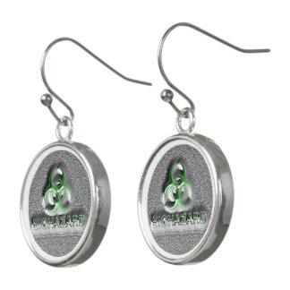 Green, Silver biohazard toxic warning sign symbol Earrings