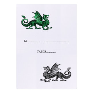 Green Silver Dragon Wedding Place Card Pack Of Chubby Business Cards