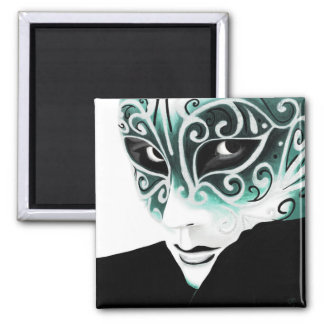 Green Silver Flair Mask Magnet Magnet